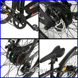 26 36V 350W Black Electric City Bicycle e-Bike Shimano 7 speed Pedal Assist