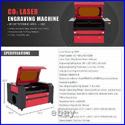 60W CO2 Laser Engraver Cutting Machine w 20x28in Workbed & Built-In Air Assist