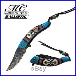 8.25 BLUE FEATHER SPRING ASSISTED FOLDING KNIFE Blade pocket open switch