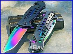 8 TAC FORCE RAINBOW BLADE SPRING ASSISTED TACTICAL FOLDING POCKET KNIFE Open