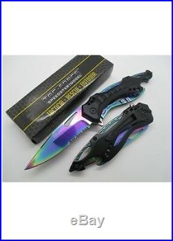8 TAC FORCE RAINBOW SPRING ASSISTED FOLDING KNIFE Blade Pocket Open Assist New