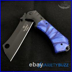 9 Viper Tactical Cleaver Blade Spring Open Pocket Knife Red Pearl New Assisted
