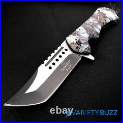 9 Viper Tactical Spring Tanto Assisted Open Folding Pocket Knife Snow Camo NEW