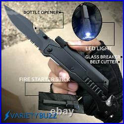 BLACK ASSISTED OPENING POCKET KNIFE Tactical Rescue Blade SHERIFF LED MULTI-TOOL