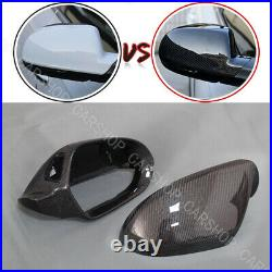 Carbon Fiber Side Mirror Cover Replace W Lane Assist For Audi C7 A6 S6 RS6 12-18