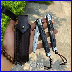 DAMASCUS FLIPPER FOLDING KNIFE TACTICAL KNIVES ARMY CAMPING COLLECTIBLE WithSHEATH