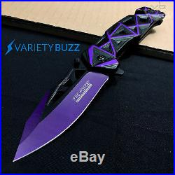 EDC TACTICAL PURPLE ASSISTED POCKET KNIFE Opening Folding Blade TAC FORCE KNIVES