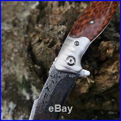 Japanese Vg10 Damascus Folding Knife Army Rescue Snakewood Seller Emazing Deal