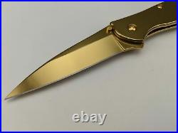 Kershaw Leek 1660G Knife 24K Gold Plated Assisted Opening Frame Lock USA