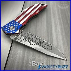 MTECH SPRING POCKET KNIFE Tactical Assisted Open Folding Blade SILVER USA FLAG