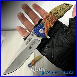 MTECH SPRING POCKET KNIFE Tactical Open Folding Assisted Blade GOLD USA MILITARY