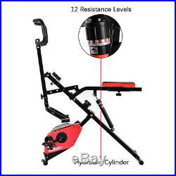 OneTwoFit 1+1 Folding Exercise Bike and Upright Squat Assist Row-N-Ride Trainer