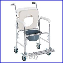 Personal Mobility Assist Waterproof Commode Shower Toilet Transport Wheelchair