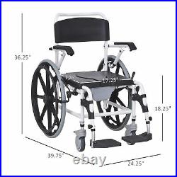 Personal Mobility Assist Waterproof Commode Shower Wheelchair, Black