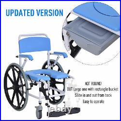 Personal Mobility Assist Waterproof Commode Shower Wheelchair, Blue