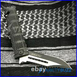 TAC FORCE Black Assisted Open Sawback Bowie Blade Spring Tactical Pocket Knife