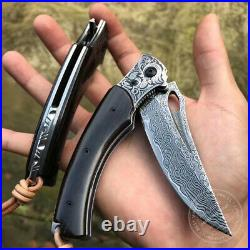 Vg10 Damascus Hunting Knife Folding Knife Camping Survival Rescue Tool Black