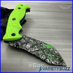 Z-HUNTER GREEN SKULL CAMO RESCUE KNIFE Spring Assisted Open Zombie Folding Blade